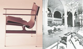 Knoll Inspiration: The Pollock Arm Chair - Photo 3 of 6 - (Left) The Pollock Arm Chair (657), 1960 (Right) Chairs photographed in the main banking lobby of the Sumitomo Bank of California, Oakland (Shig Iyama, A.I.A.). Photograph by Roger Sturtevant, appeared in a feature by Burt Orben in Interior Design, March 1966