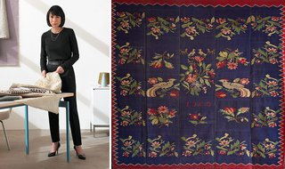 Left: Dorothy Cosonas, Creative Director, KnollTextiles. Right: The original heirloom rug woven for Cosonas' grandmother in 1913 by nuns on the Greek island of Lesbos.