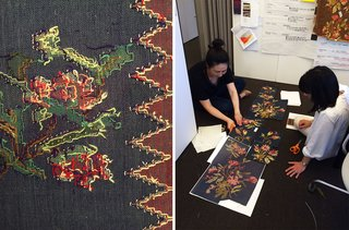 In Conversation: Dorothy Cosonas on the Odyssey Collection - Photo 3 of 4 - Left: Detail of the back of the heirloom rug that inspired the collection. Right: Dorothy Cosonas and Mee Ok Ryu at work.