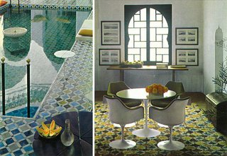 Morocco Modern - Photo 7 of 11 - The swimming pool and living room of York Castle boasted intricate patterns in rich blues and greens.