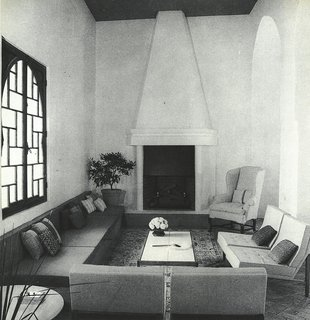 Morocco Modern - Photo 8 of 11 - The main part of the 48-foot-long living room of York Castle, where Florence Knoll chairs were arranged around the fireplace.