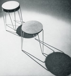 "Introducing the Hairpin™ Stacking Table - Photo 3 of 6 - The graphic shadows of the ""Hairpin"" Stacking Stool, with its ingenious three-pronged base. Image from the Knoll archive."