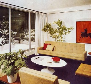 Introducing New Designs Inspired by a Century of Florence Knoll - Photo 4 of 9 - Florence Knoll seating designs installed in the office of Cowles Publications, where a sculptural Saarinen coffee table takes center stage. Image from the Knoll Archive.