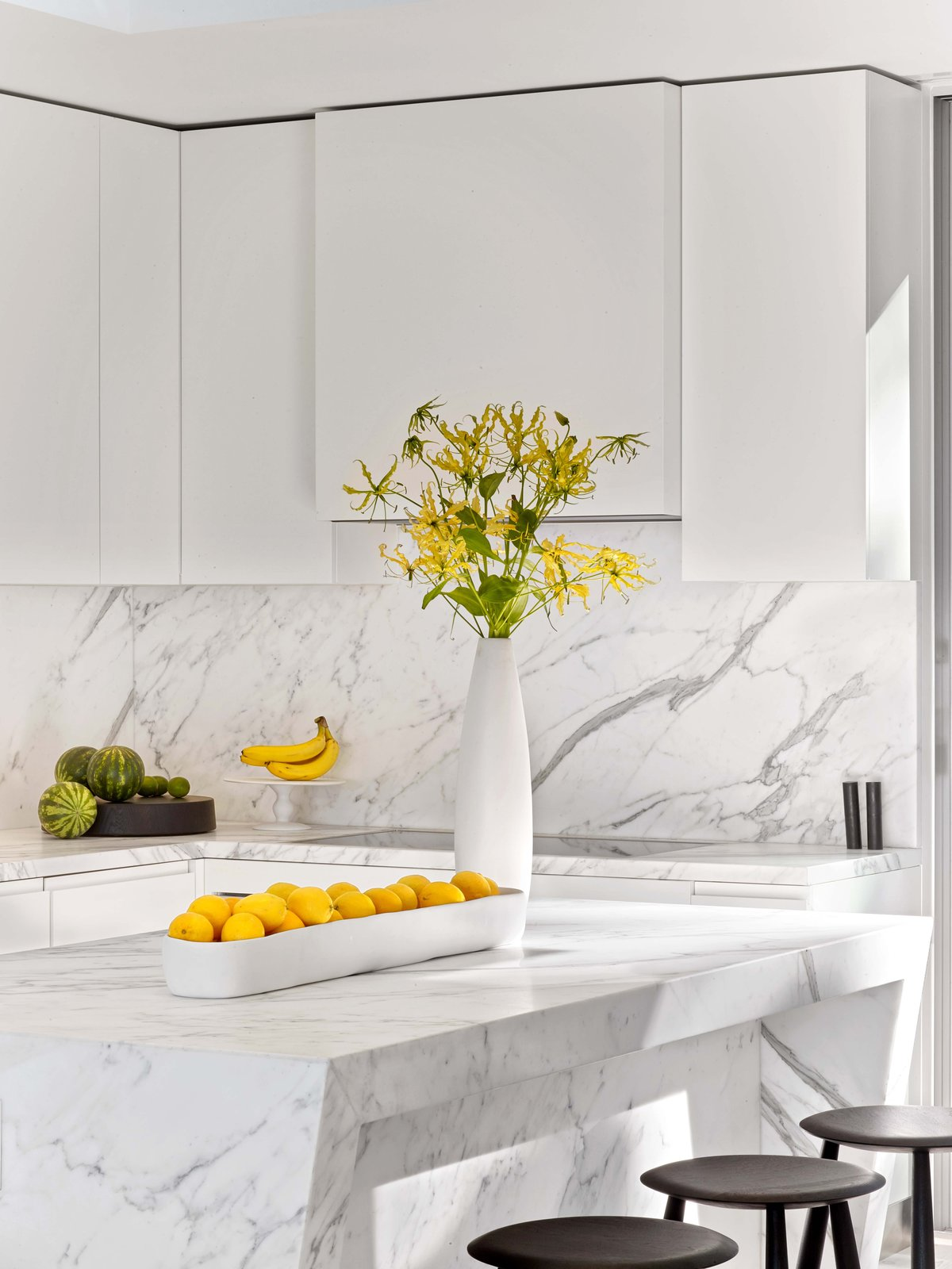 Tagged: Kitchen, White Cabinet, Marble Counter, and Marble Backsplashe.  Glen Park Residence by CCS Architecture
