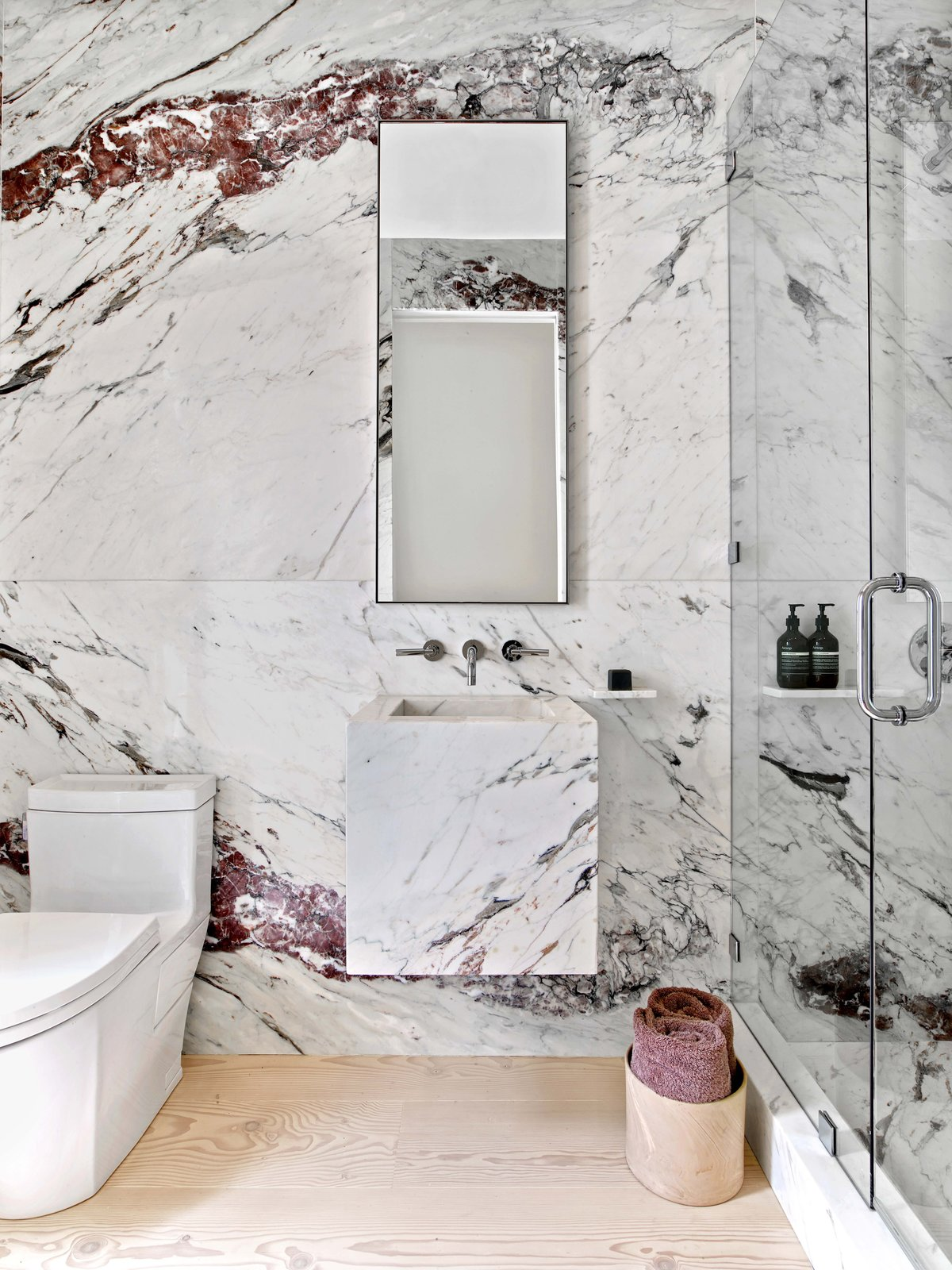 Tagged: Bath Room, Marble Floor, Wall Mount Sink, Enclosed Shower, Corner Shower, Marble Wall, and Two Piece Toilet.  Glen Park Residence by CCS Architecture