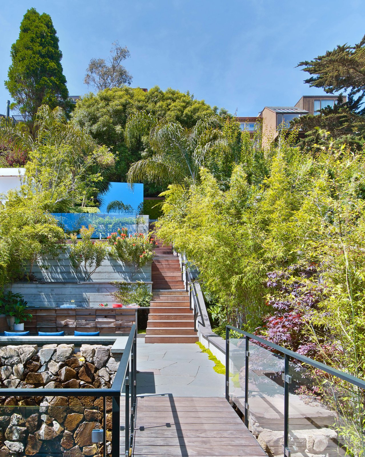 """Terraced yard leading to """"the cube""""  Glen Park Residence by CCS Architecture"""