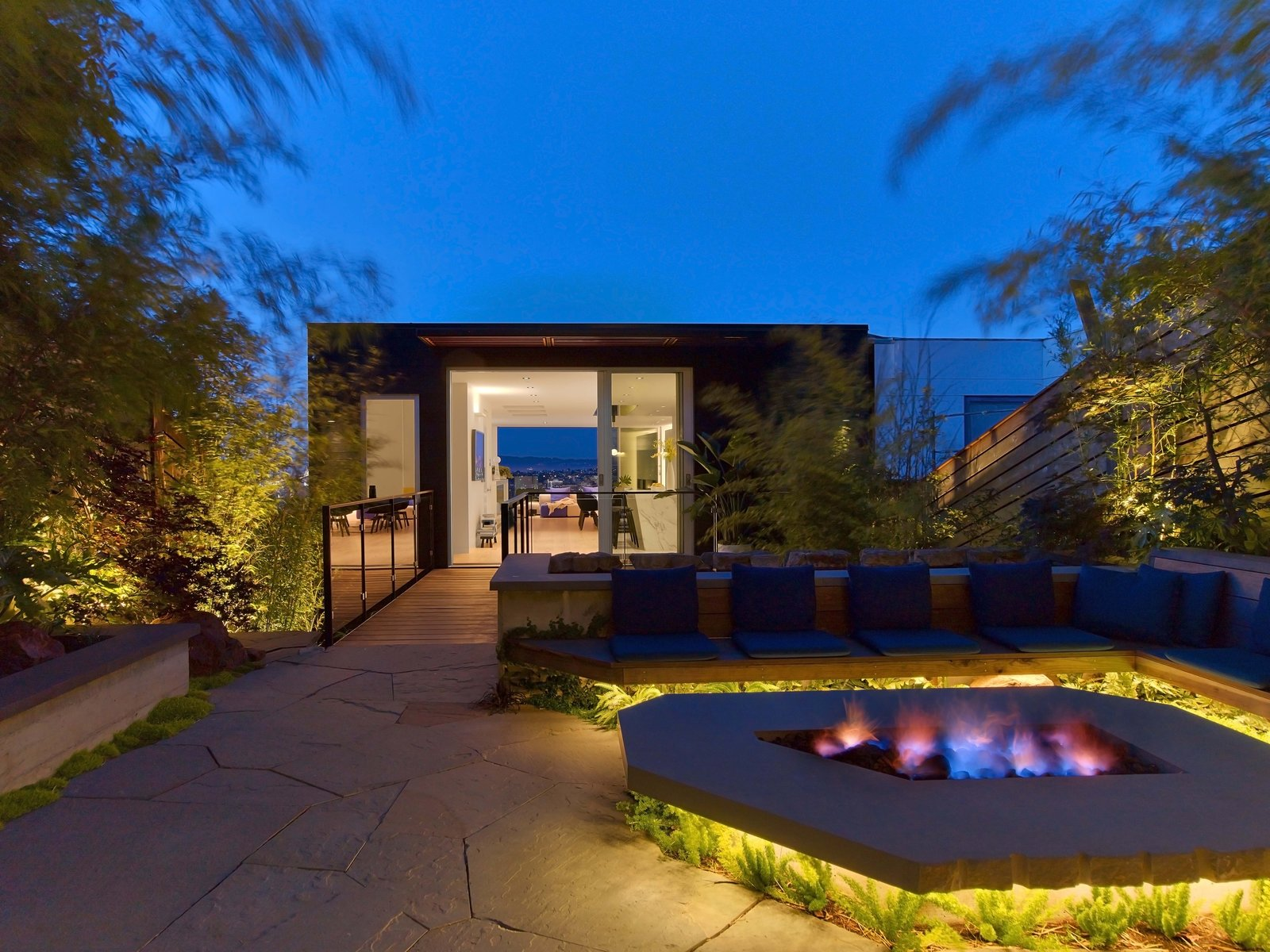 Tagged: Outdoor, Back Yard, Trees, Shrubs, Stone Patio, Porch, Deck, Wood Fences, Wall, Landscape Lighting, and Horizontal Fences, Wall.  Glen Park Residence by CCS Architecture