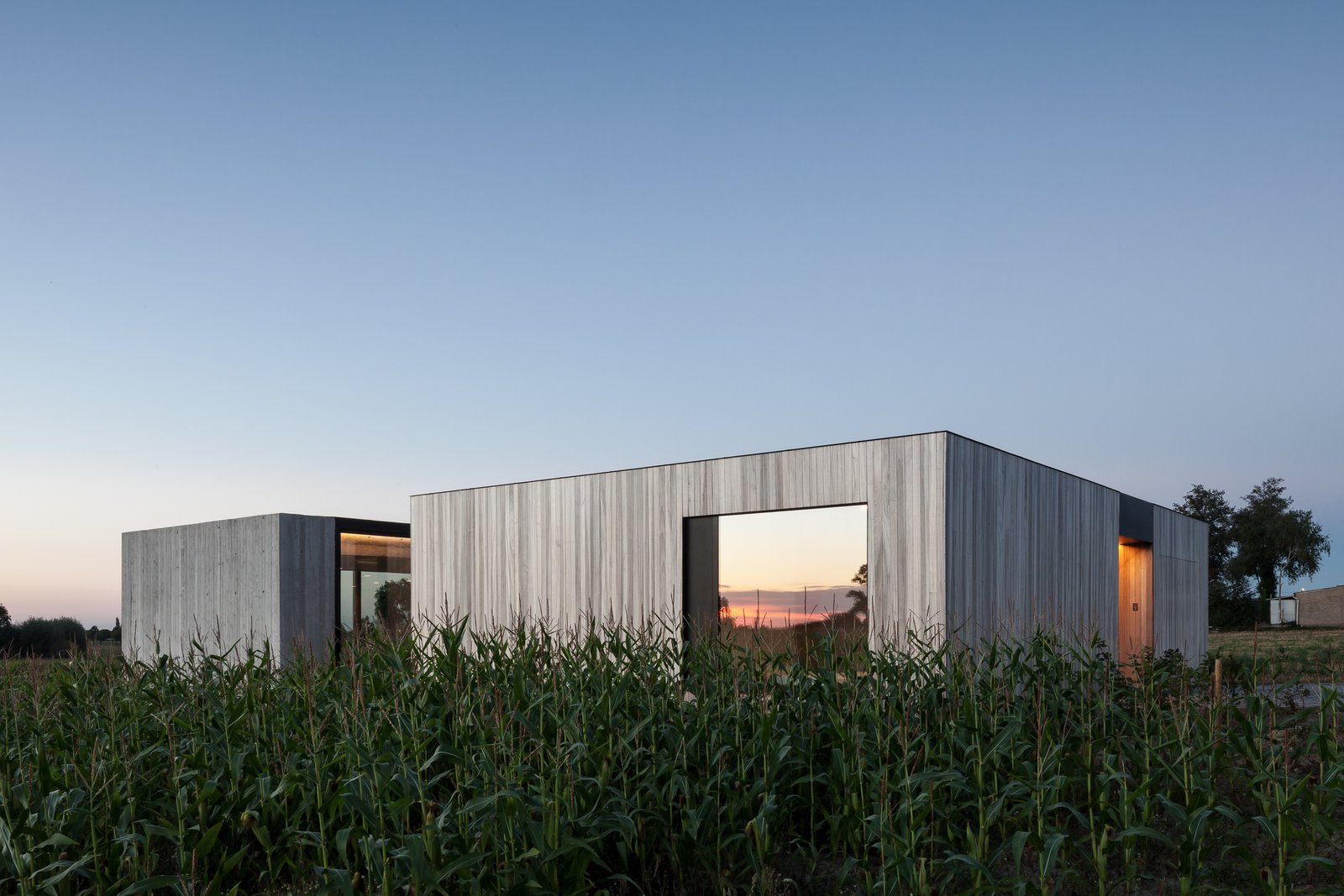 Photo 1 of 14 in Defying traditionalism: concrete bungalow inserted in a rural Belgian landscape