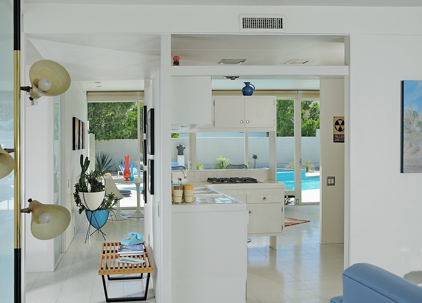 The kitchen was restored in 2001 following guidelines from its original configuration.