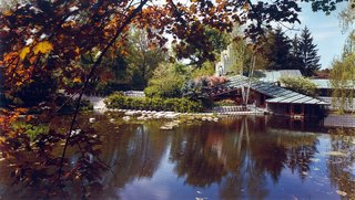 """Defining an Architectural Canon From the Ground Up - Photo 2 of 4 - The Alden B. Dow Home and Studio in Midland features a sunken parlor that is level with an expansive pond. The Japanese-style landscaping embodies Dow's philosophy that """"gardens never end and buildings never begin."""""""