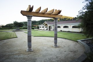 A Northern California Winery's Breathtaking Vistas Are Enhanced by Natural Redwood - Photo 4 of 5 - In addition to the pergolas, a redwood arbor sits at the front of the property for use by wedding parties, and can be moved to different locations as desired.