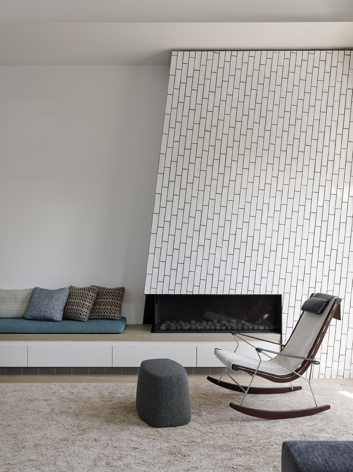 The Angled Fireplace Is Clad In Grove Brickworks Field Tile From Waterworks Laid Vertically With