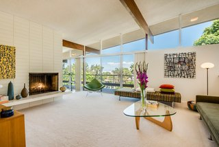 A Midcentury Home For Sale in L.A. That Was Originally Designed For a WWII Pilot - Photo 1 of 16 - As a well-preserved example of post-and-beam construction, the home's horizontal beams support the dramatic sloped roof.