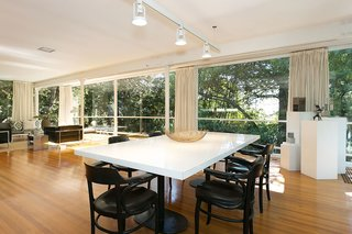 An Amazing Tree-Covered Glass House For Sale in the Berkeley Hills - Photo 4 of 20 - The dramatic glass curtain wall, spanning an impressive 37 feet, allows the main living level to be flooded with natural light.