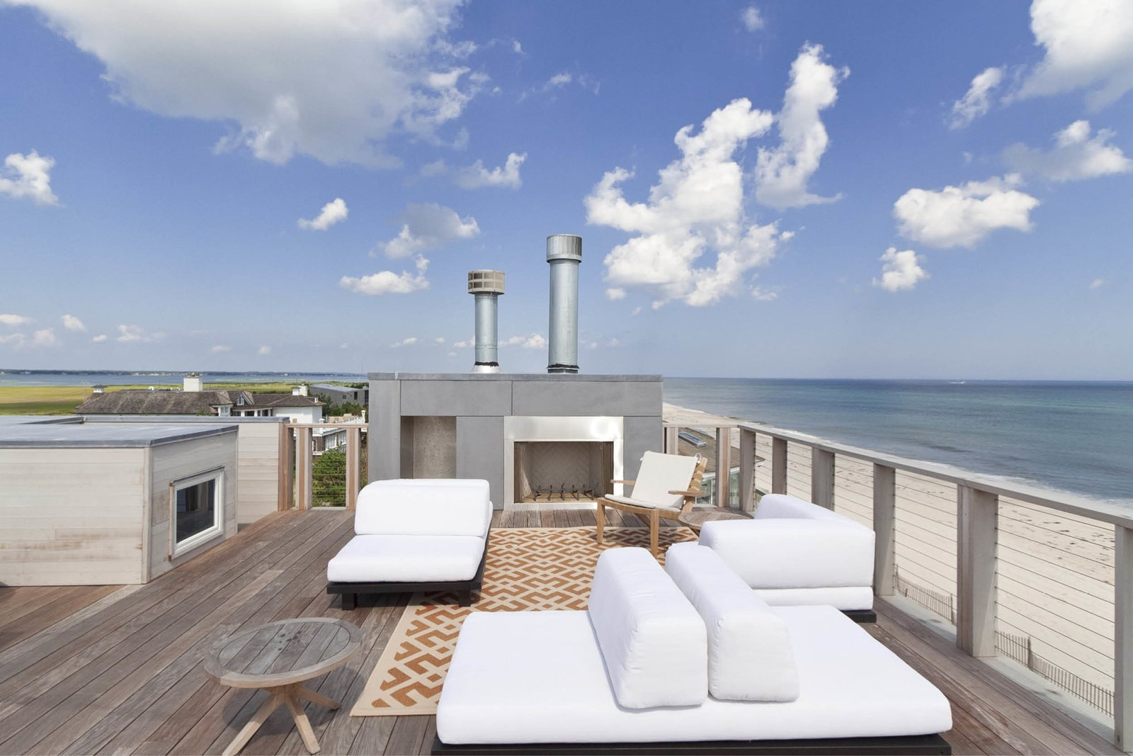 Roof deck/Outdoor living space Tagged: Rooftop, Wire, Wood, Decking, Horizontal, Wood, and Exterior.  Best Exterior Wood Photos from Dune Road Beach House