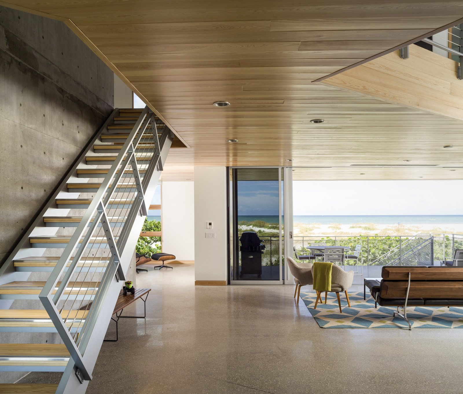 Tagged: Staircase, Metal Tread, and Metal Railing.  Seagrape House by Traction Architecture