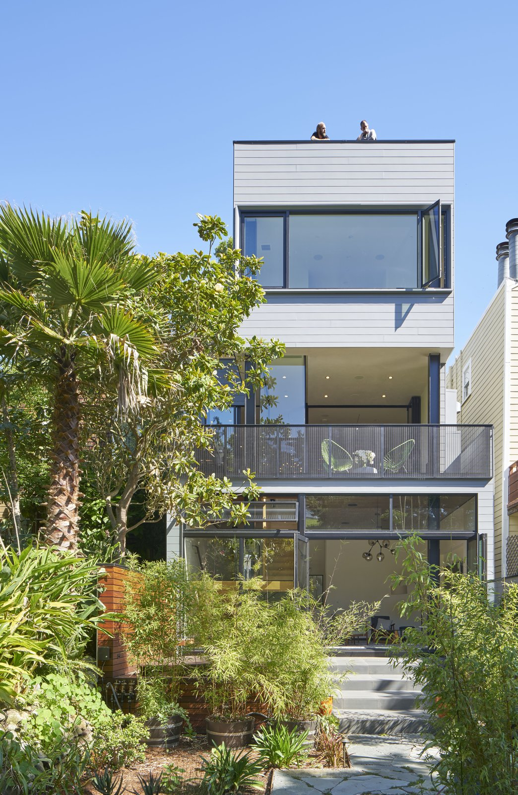29th Street Residence in San Francisco, California Tagged: Outdoor, Hardscapes, Walkways, Gardens, Trees, Shrubs, Back Yard, Metal Fences, Wall, Garden, and Wire Fences, Wall.  29th Street Residence by Schwartz and Architecture