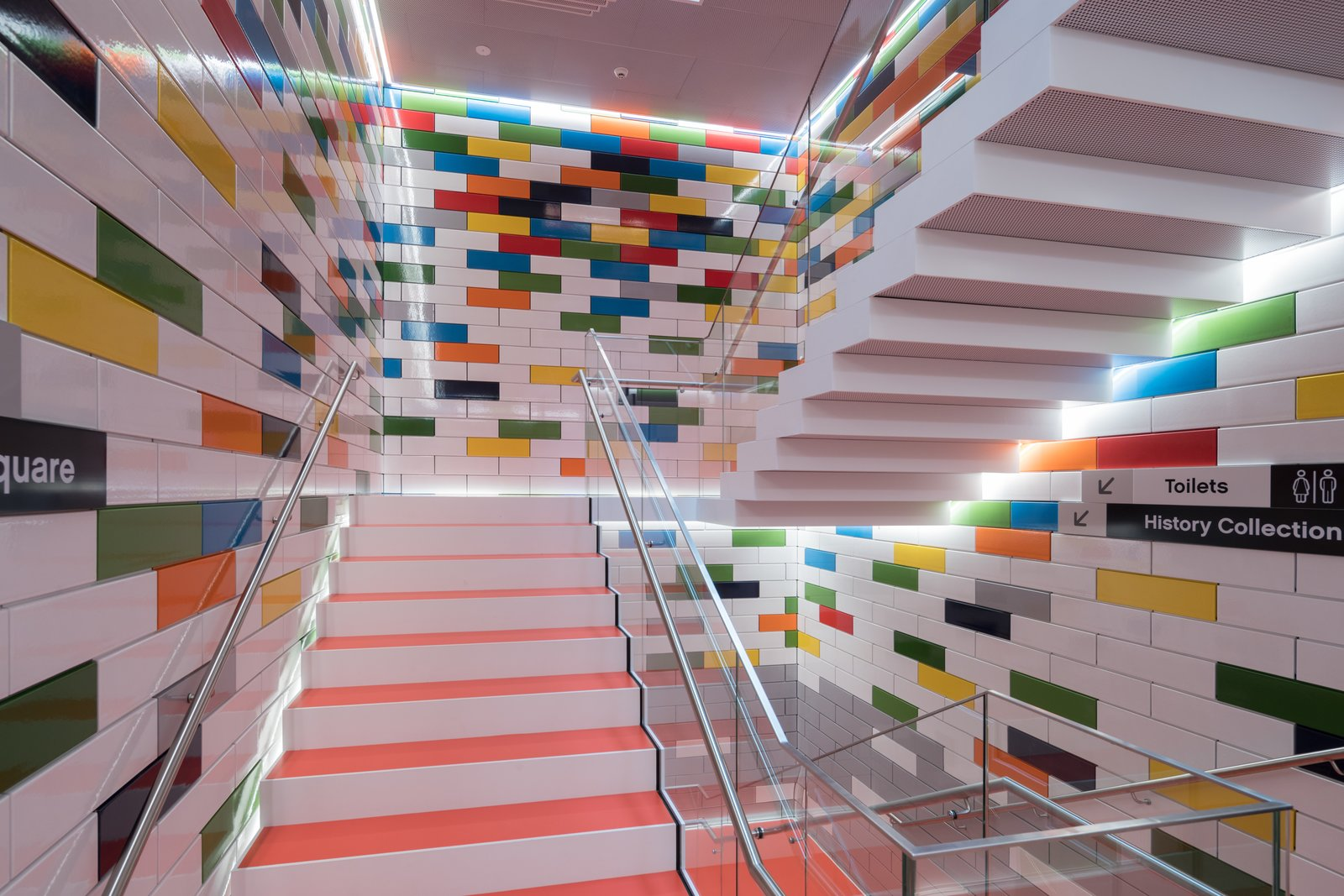 Tagged: Staircase, Metal Railing, and Glass Railing.  Photo 4 of 10 in Spend an Unforgettable Night in Denmark's New LEGO House
