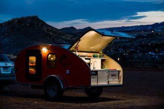Get Your Glamp On in This Retro Teardrop Trailer - Photo 7 of 7 - LED lights illuminate the trailer at night.