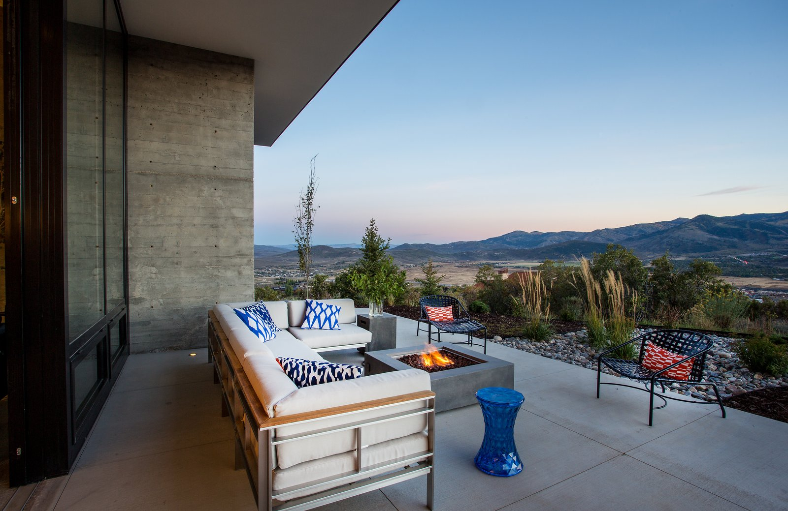 Tagged: Outdoor, Trees, Large Patio, Porch, Deck, Concrete Patio, Porch, Deck, Desert, Back Yard, Shrubs, and Hardscapes.  Park City Modern Residence by Sparano + Mooney Architecture
