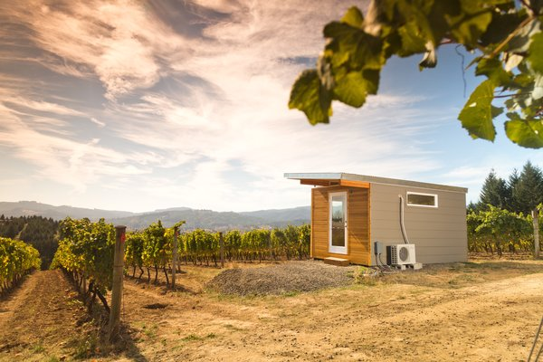 This beautiful Modern-Shed home office overlooks a gorgeous vineyard in Eastern Washington. Photo 8 of Modern-Shed Vineyard Office modern home