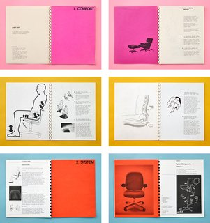 Creatures of Comfort - Photo 1 of 2 - The Ergon chair was introduced in 1976 after Stumpf conducted 10 years of research into how people really sit when they work. His concept books, shown here, included documentation of consultations with orthopedic surgeons and cardiovascular specialists to understand the effects of chairs and the seated posture on the body's circulatory system, muscles, and bones.