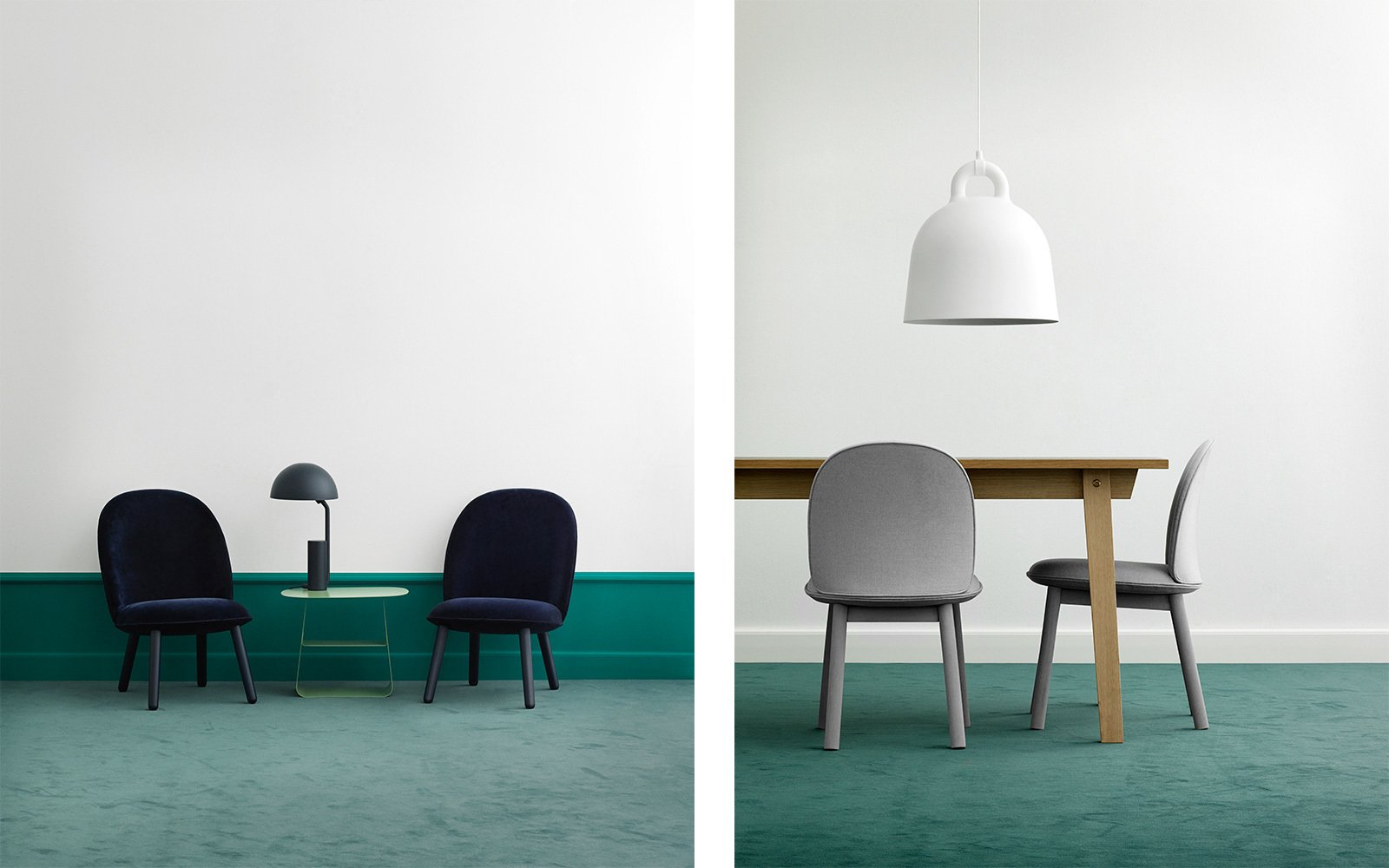 The Ace Lounge Chair in dark blue velour and the Ace Dining Table Chair in grey wool.  Photo 10 of 10 in All Eyes on Ace