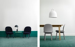 All Eyes on Ace - Photo 9 of 9 - The Ace Lounge Chair in dark blue velour and the Ace Dining Table Chair in grey wool.