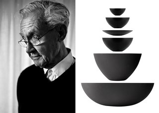 The Story of an Extraordinary Bowl - Photo 1 of 5 - The Danish material researcher Herbert Krenchel and the Krenit series in six different sizes.