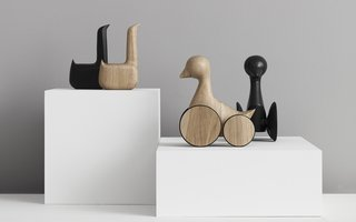 What's Up With All The Wooden Figures? - Photo 1 of 6 - Swan and Ducky figures in natural and black oak.