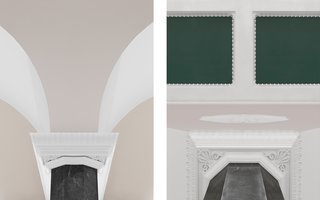 Normann Copenhagen's Revamped Showroom and Flagship Store - Photo 8 of 12 - Classical details of the white stucco and bas-reliefs beautifully contrast the emerald green ceiling.