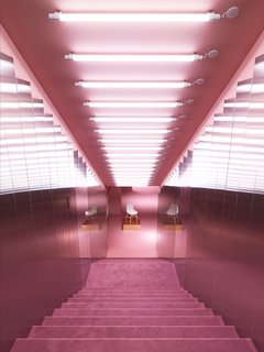 Normann Copenhagen's Revamped Showroom and Flagship Store - Photo 10 of 12 - Plush pink staircase leading down into the Gallery.