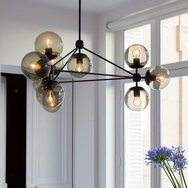 Modo 3 Sided Chandelier - 10 Globes from Roll and Hill