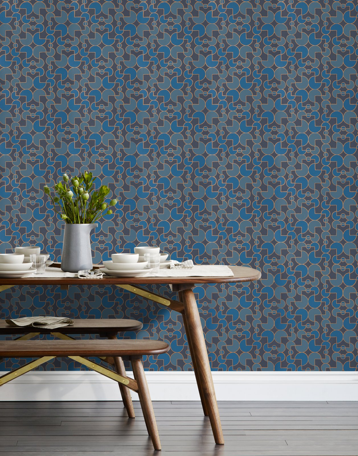 We partnered with Hygge & West to produce a collection of modern artisan wallpaper that's screenprinted by hand in Chicago, IL. Heath designed wallpaper that combines a clean graphical style with hand-drawn lines in a palette inspired by our glazes in four patterns in four colorways: Arcade, Quilt, Slice, and Strike.  Shop the collection here:  http://www.heathceramics.com/wallpaper   #heath #heathceramics #heathxhyggeandwest #wallpaper #color #handdrawnlines #navy #arcade  Photo 32 of 42 in Wallpaper That Fixes Walls