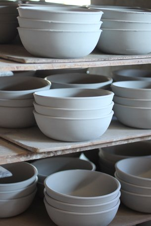 Once dry, the ware is ready for glazing. We keep some stock of all our pieces in greenware (unfired) so that we have them ready to glaze when we need them.  Photo 21 of 36 in Sausalito Dinnerware Factory Tour