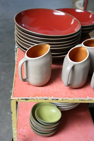 Finished ware, just out of the kiln.  Photo 34 of 36 in Sausalito Dinnerware Factory Tour