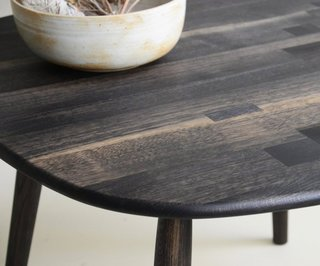 Jacob May Design - Photo 5 of 7 - Expert craftsmanship is evident in the details of this patchwork tabletop, shown here in Oxidized Oak. With a sleek, simple shape, it's designed to let the beauty and variety available from a single wood species take center stage.