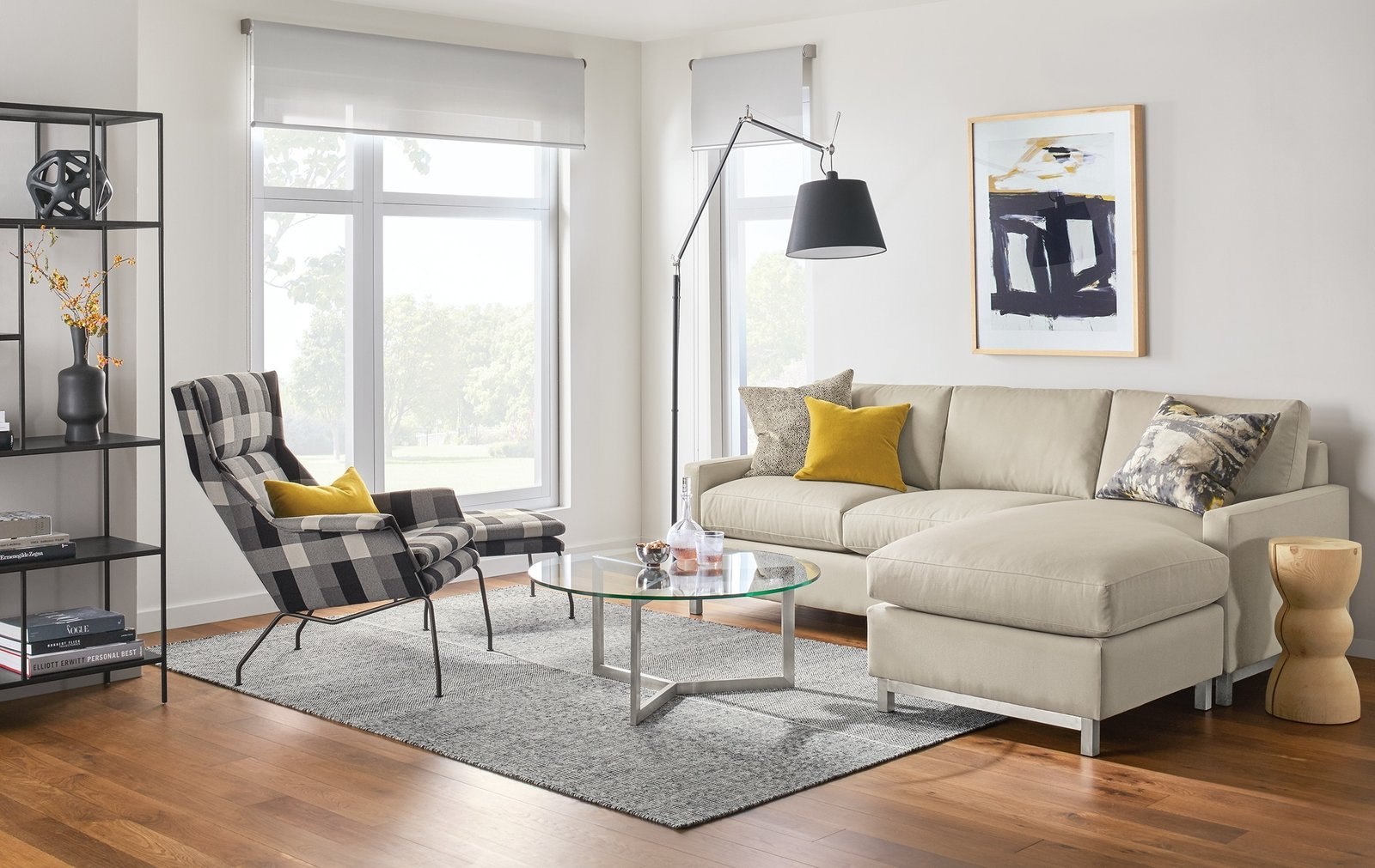 The Stevens sectional blends modern style with plush comfort. A taller seat height combined with soft, yet supportive, cushions delivers exceptional comfort with an upright feel.  Modern Living Room Furniture by Room & Board