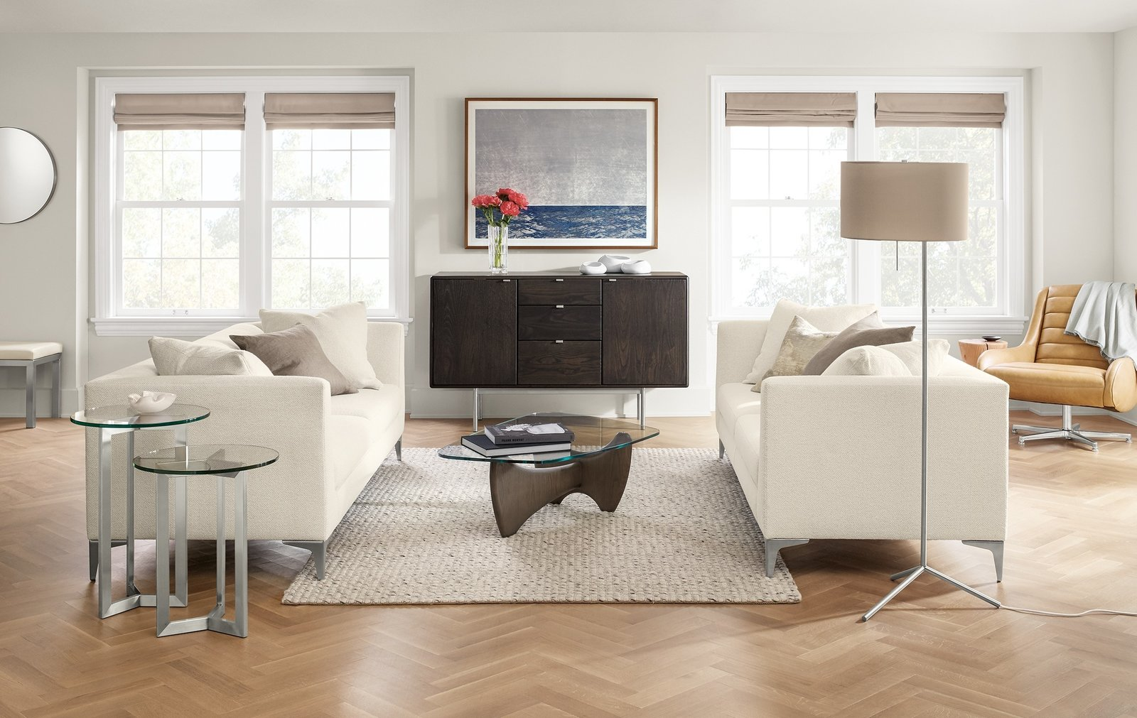 Down toss pillows on our Sterling sofa invite you to relax in this European-inspired design. Streamlined but not overly formal, Sterling is the perfect foundation for a sophisticated living space.  Modern Living Room Furniture by Room & Board