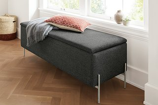 Storage Benches for Every Space - Photo 1 of 6 - Paxton storage ottoman in Sumner charcoal fabric
