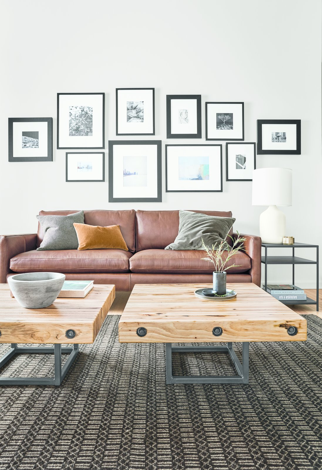 The small-scale Briggs tables are created from floor tiles of automotive stamping plants from across the Midwest, primarily made of domestic hickory.  Modern Living Room Furniture by Room & Board