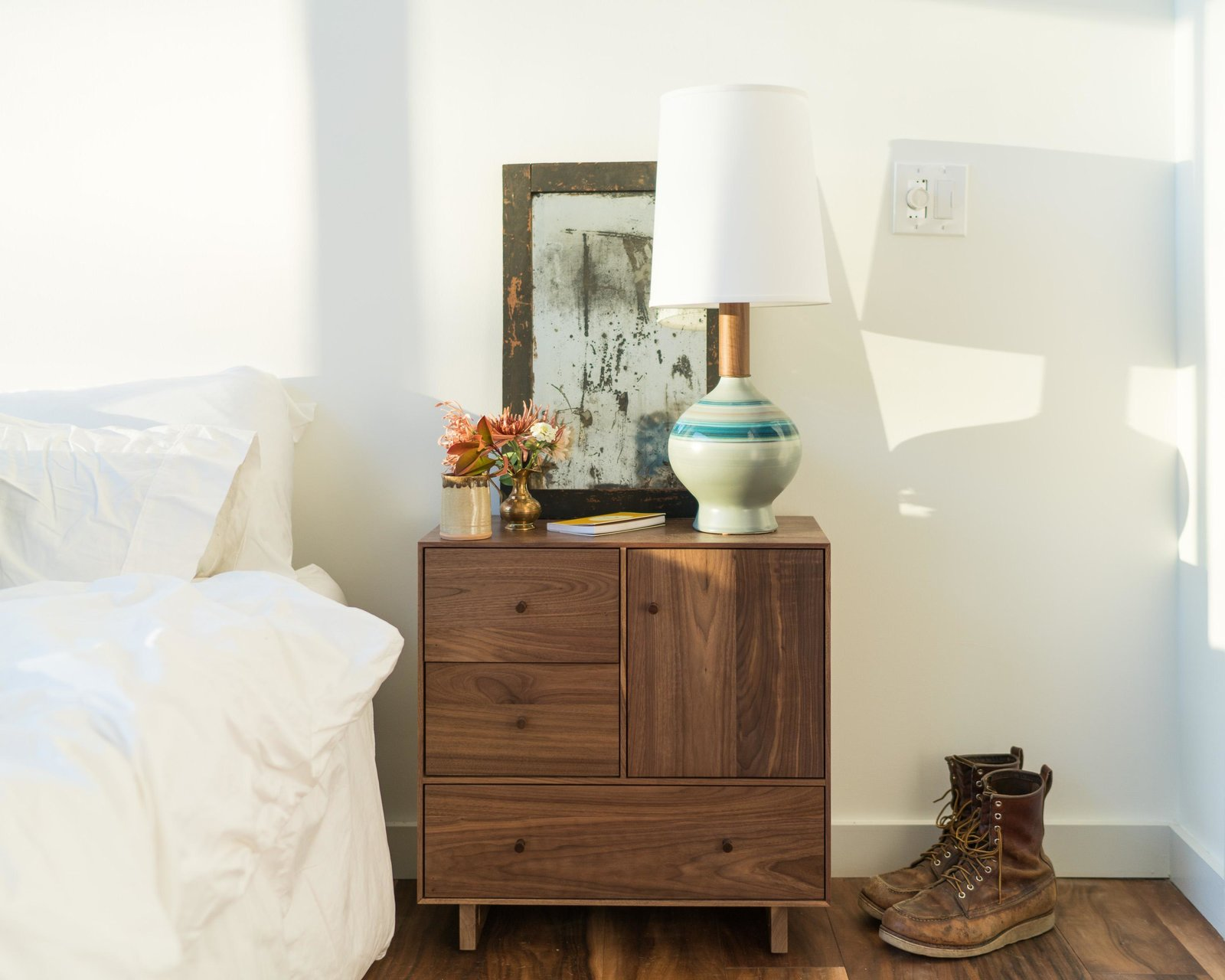 Hudson nightstand and Rayas table lamp Tagged: Bedroom, Bed, and Night Stands.  Photo 8 of 11 in Home Tour: Theron Humphrey of This Wild Idea