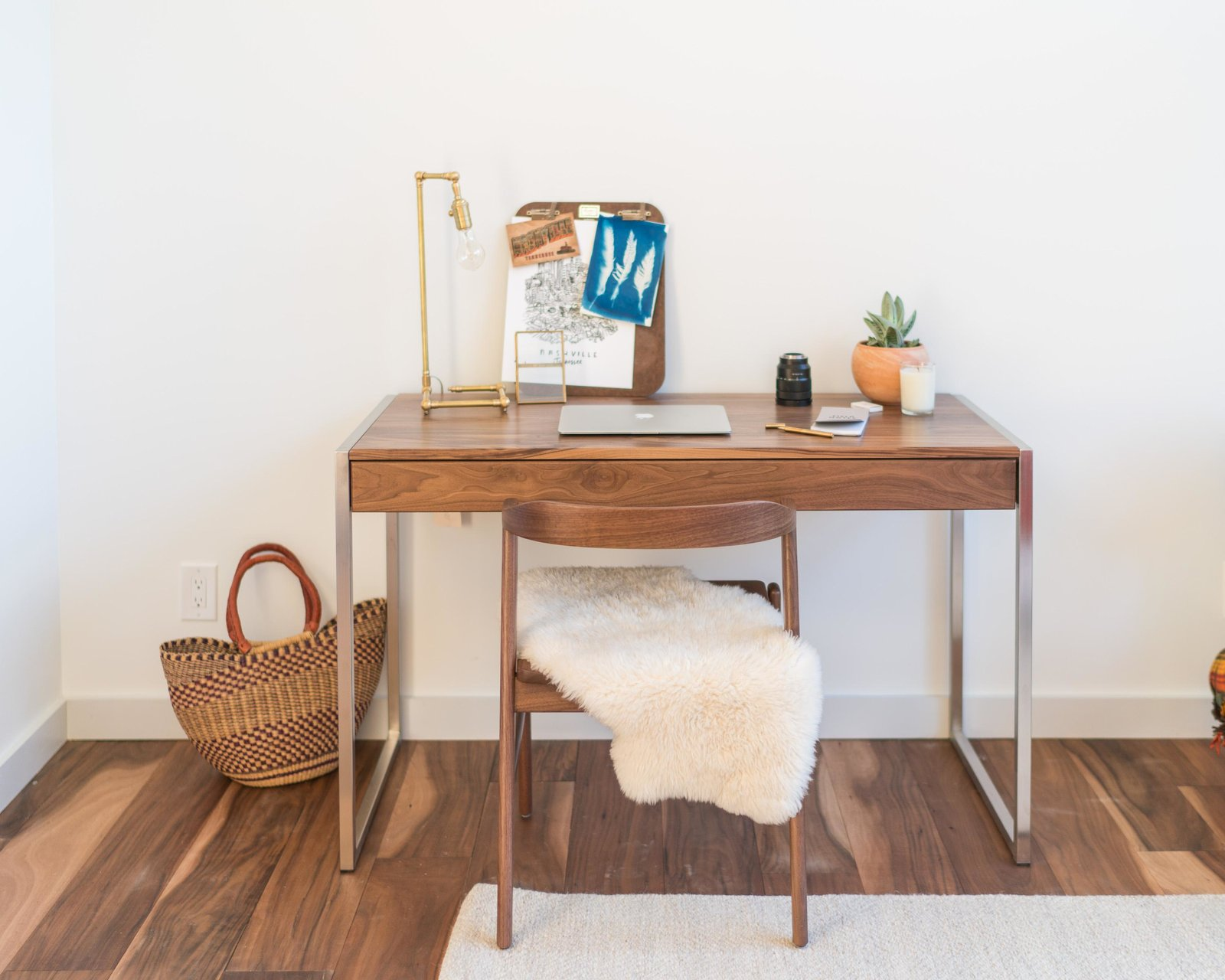 Basis desk and Jansen chair Tagged: Office, Chair, and Desk.  Photo 9 of 11 in Home Tour: Theron Humphrey of This Wild Idea