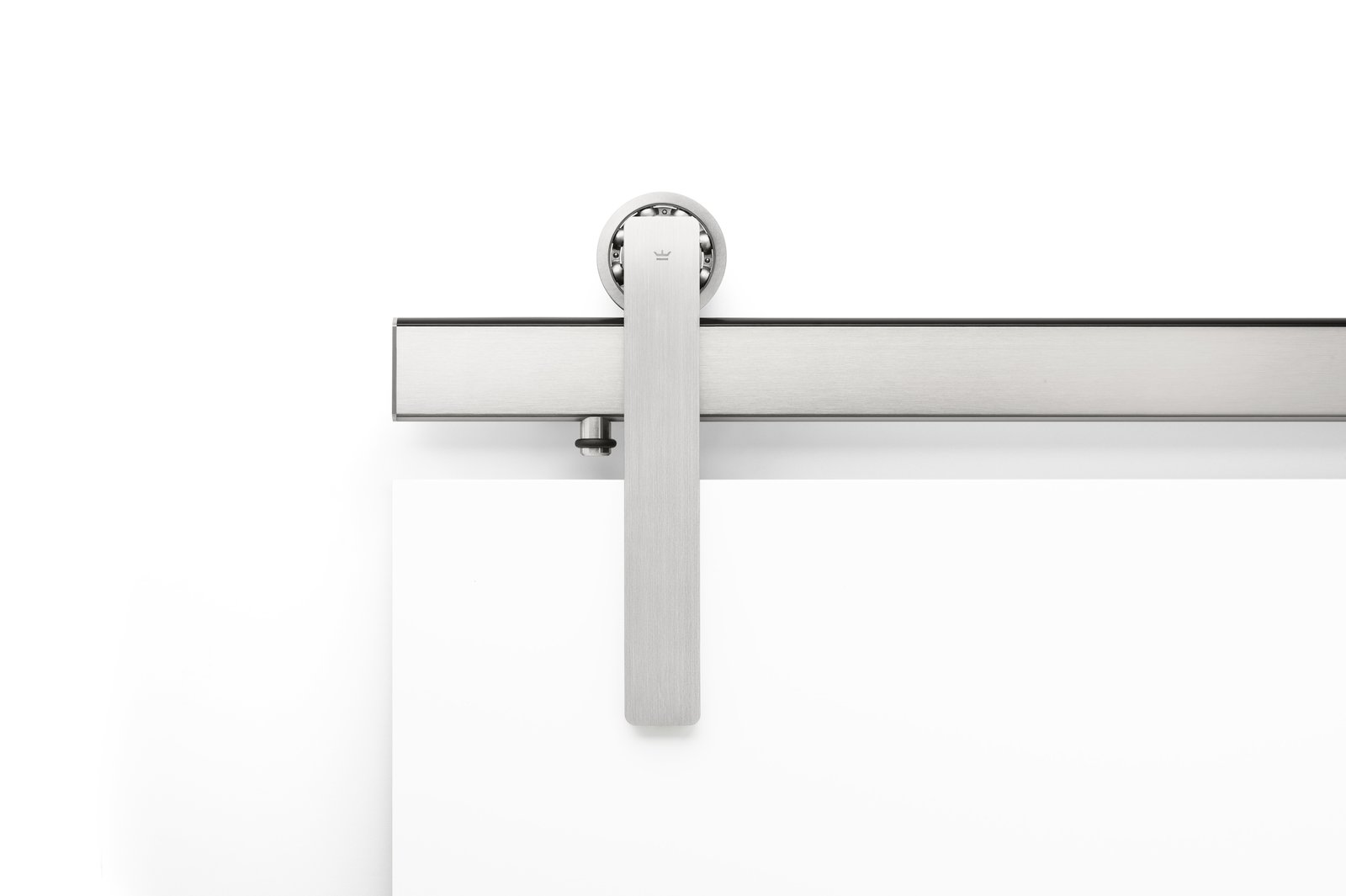 The Ragnar sliding door hardware system in Brushed Stainless finish and Face Mount.  Ragnar Sliding Door Hardware by Krownlab