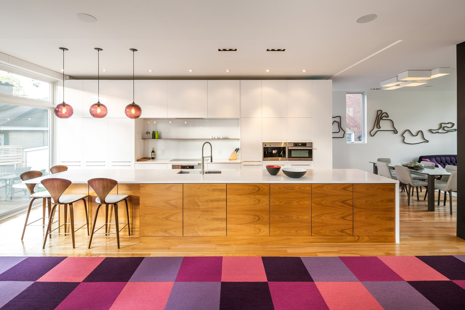 Plum Modern Pendant Lighting Adds Pop of Color in Canadian Kitchen - Photo 1 of 5