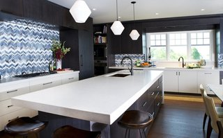 Bold Kitchen Island Pendant Lighting Shines Bright in Boston Home - Photo 1 of 3 -