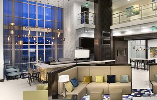 Modern Hotel Lighting Adorns Lobby of Hilton Resort in Myrtle Beach - Photo 1 of 4 -