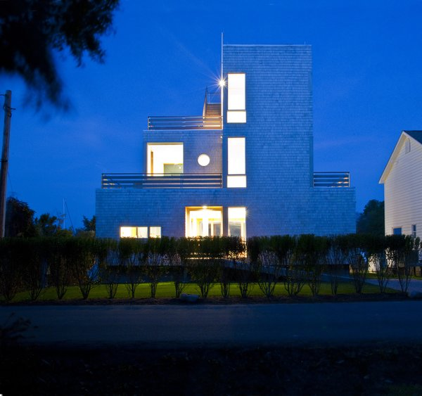 Front facade at night Photo 8 of Chesapeake Bay House modern home
