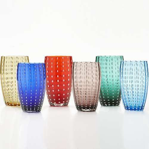 Perle Beverage Glasses, Gift Set of 6 from Zafferano