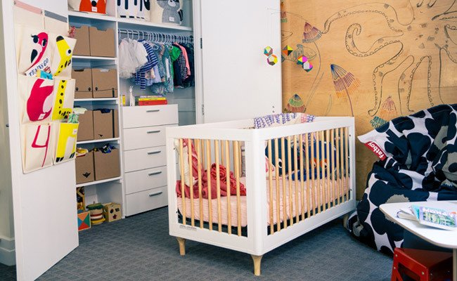 Wayfair & Designer Gunnar Larson give Rebecca Minkoff's kids a unique nursery makeover. Watch how CREATE Clear applied over a featured wood wall in the nursery lays the perfect backdrop for this high-end design, http://www.ideapaint.com/article/wayfair-roomover  Photo 5 of 20 in 20 Cool Cribs for the Modern Baby from IdeaPaint @ Home